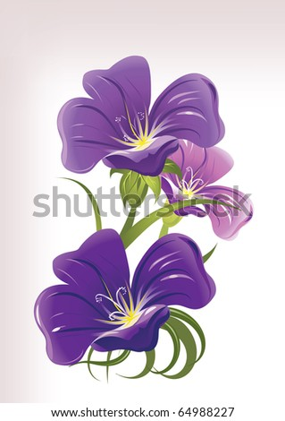 Blue flowers on pink background - stock vector