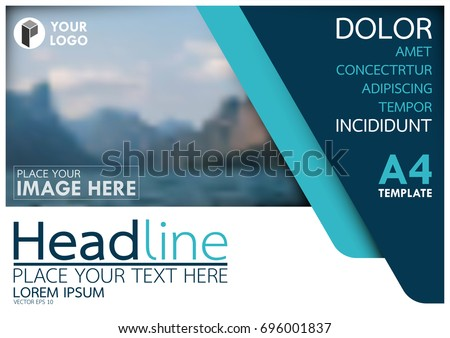 Blue flyer cover business brochure vector design, Leaflet advertising abstract background, Modern poster magazine layout template, Horizontal annual report for presentation.