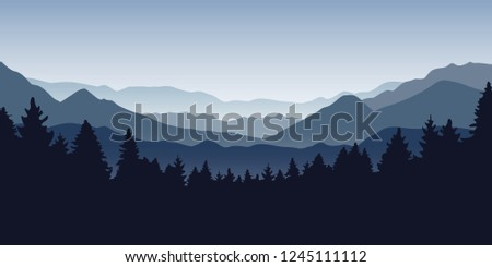 blue foggy mountain and forest