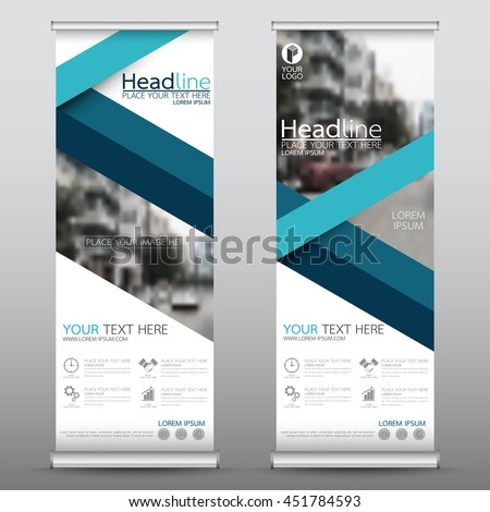 Blue fold roll up business banner design vertical template vector, advertising presentation abstract geometric background, modern publication display and flag-banner, layout in rectangle size. #451784593