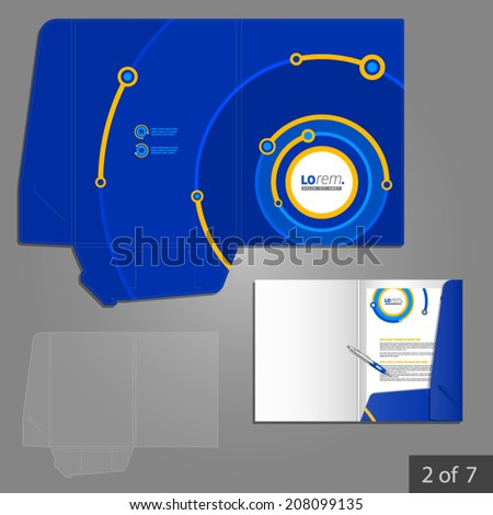 Blue folder template design for company with digital circles. Element of stationery.