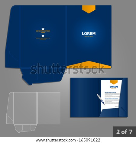 Blue folder template design for company with orange arrow. Element of stationery.