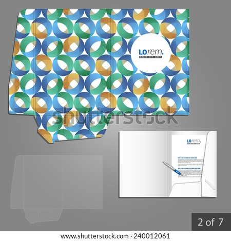 Blue folder template design for company with round pattern. Element of stationery.