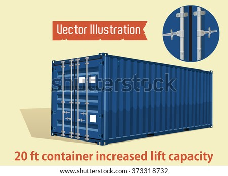 Blue 20 foot container increased lift capacity. Marine vector containers. Isolated sea containers on a light background. Layered vector illustration.