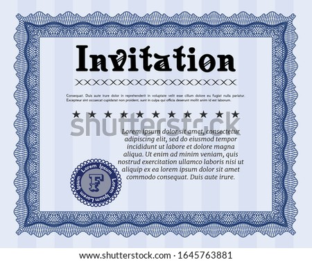 Blue Formal invitation. Good design. Customizable, Easy to edit and change colors. Printer friendly.