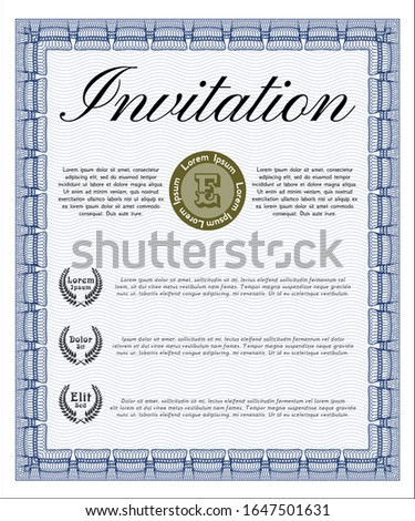 Blue Formal invitation. Money design. Complex background. Customizable, Easy to edit and change colors.