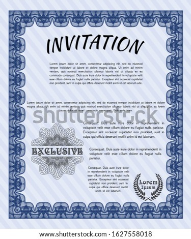 Blue Formal invitation. With complex background. Customizable, Easy to edit and change colors. Money Pattern.