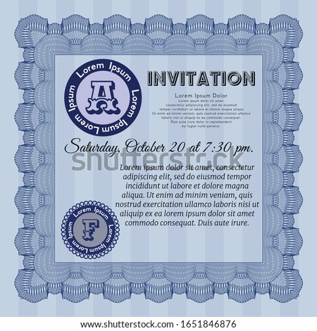 Blue Formal invitation. With great quality guilloche pattern. Customizable, Easy to edit and change colors. Elegant design.