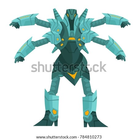 blue four armed spider machine