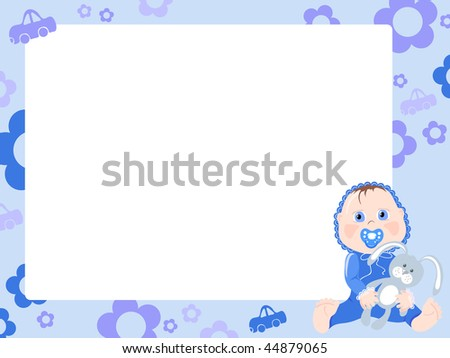Blue frame for boy, vector illustration