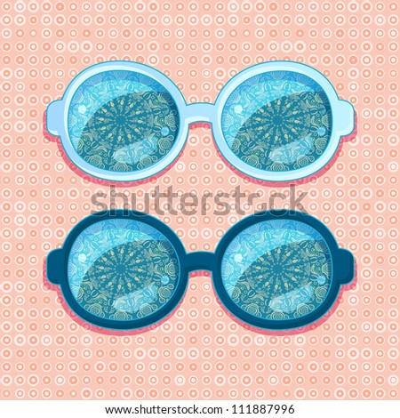 Blue Frames with Abstract Mandala Reflection in Glasses. Vector Accessory Illustration on Red Backdrop
