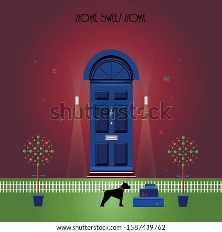 blue front door on a red wall
