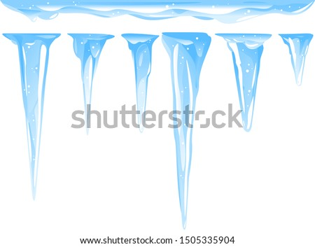Blue frozen icicle cluster hanging down from snow-covered ice surface, set of different quality detailed icicles with snow isolated, carefully drop the icicles