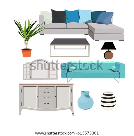 blue furniture set elements