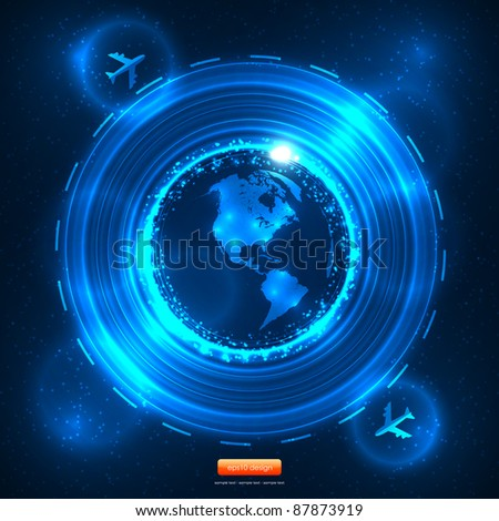 Blue Future Travel Vector Design with Aeroplanes - American Map