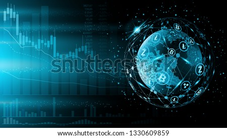 Blue futuristic background. Bitcoin and blockchain. Electronic cryptocurrency and modern technology. Online banking, and financial communications. World wide web. Hologram with a globe of the word Stock photo ©