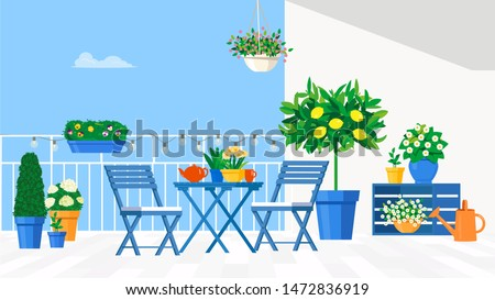 Blue garden furniture on the balcony with pots of flowers and a lemon tree. Vector flat illustration.