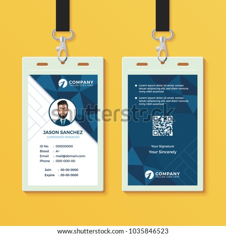Blue Geometric ID Card Design Template