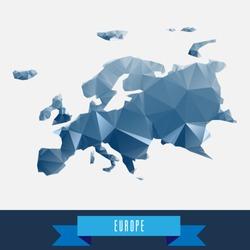 blue geometrical stylized europe map