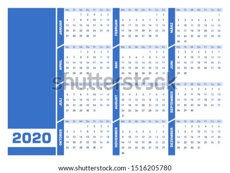 blue 2020 german calendar