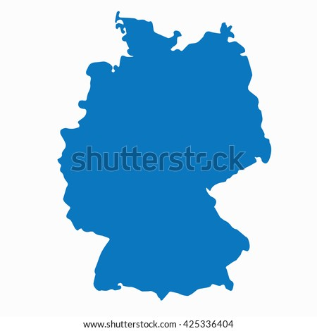 Blue Germany map vector. European German country icon.