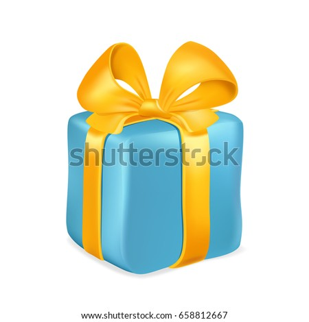 Blue gift box with yellow ribbon and bow isolated on white background. Vector illustration