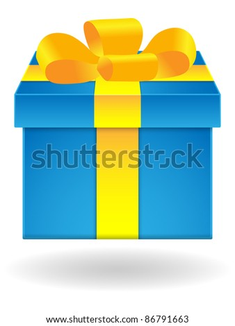 Blue gift box with yellow ribbon on white background. Vector illustration.
