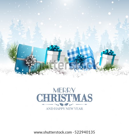 Blue gift boxes in the snow - Christmas greeting card