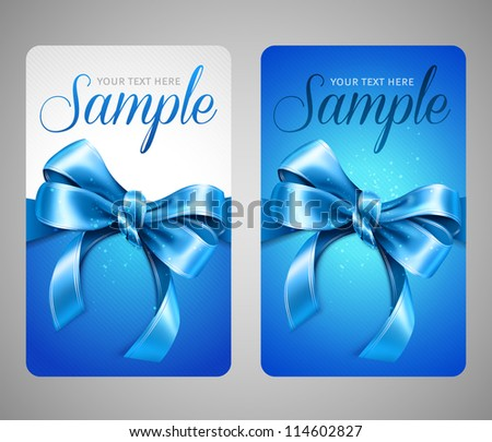 Blue gift cards with bow