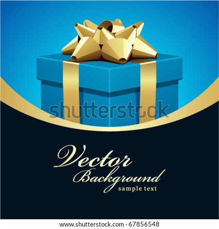 Blue gift present with gold bow Wedding or Birthday vector background