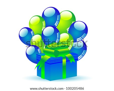 Blue gift with blue and green party balloons