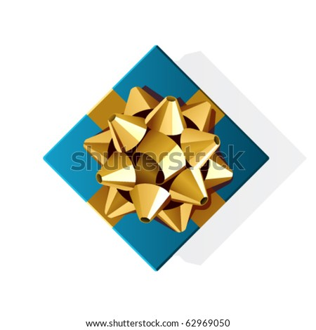 Blue gift with gold bow top view vector illustration. Eps 10