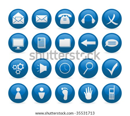 Blue glance web button icons