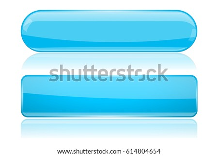 Blue glass buttons. Oval and rectangle web menu elements. Vector 3d illustration on white background
