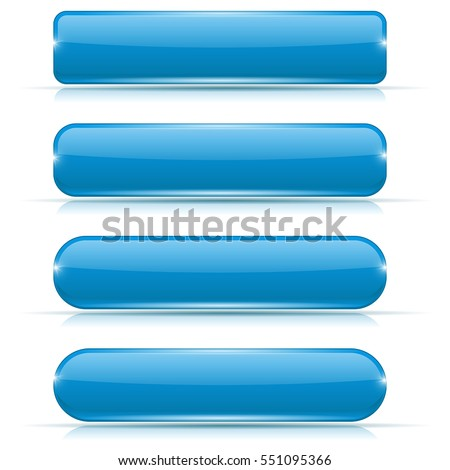 Blue glass buttons. Rectangle and oval web icons. Vector 3d illustration isolated on white background.