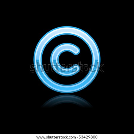 Blue glassy web button copyright symbol with reflection. Black background - stock vector