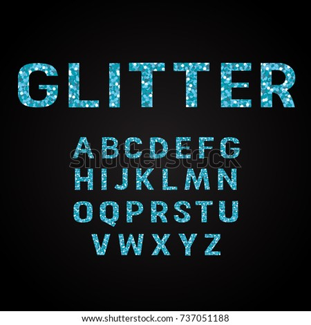 Blue glitter alphabet fonts vector illustration