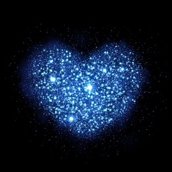 Blue glitter particles in heart shape. Sparkling diamond texture. dust glittering sparks in explosion on black background. Vector love saint valentine greeting card
