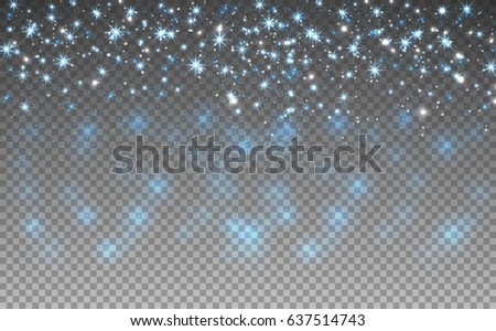 Blue glitter sparkles on transparent background. Vector golden dust texture. Twinkling confetti, shimmering star lights. Vector illustration.