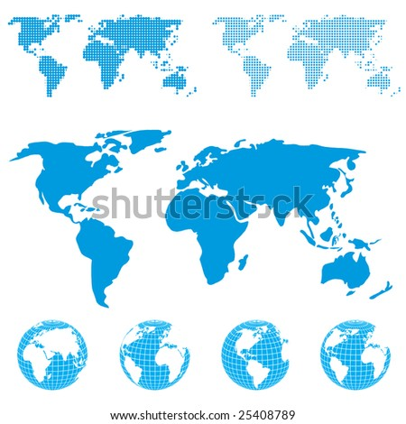 Blue globe and map. Vector.