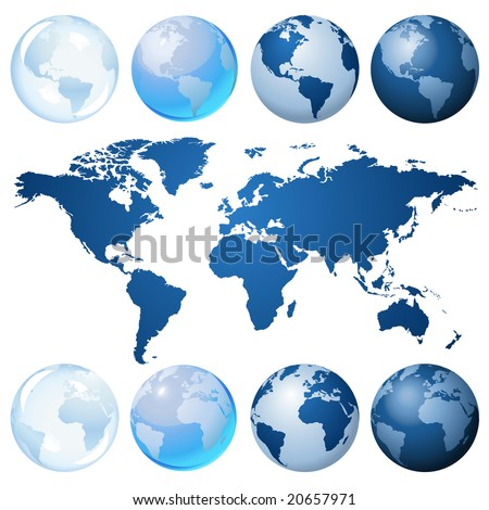 Blue globe kit and map, vector background. Items are placed on separate layers and editable. - stock vector