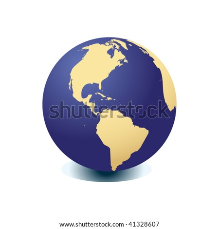 Blue globe kit, vector background. Items are placed on separate layers and editable.
