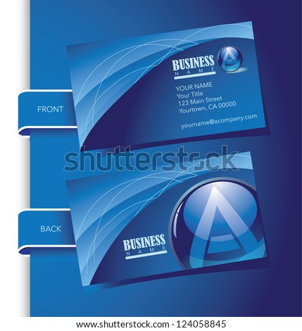 Blue Globe Letter A Business Card Set Front and Back