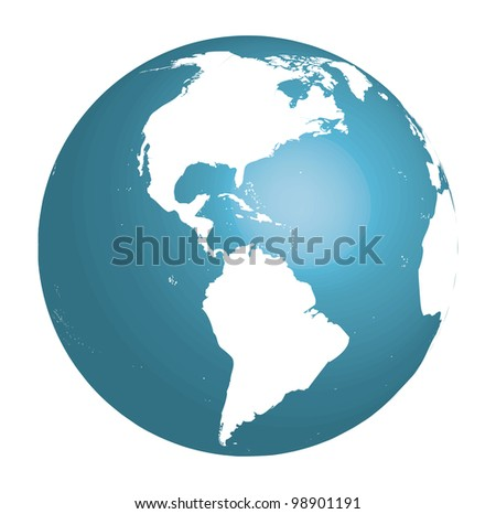 Blue globe showing South and North America. Vector 3d