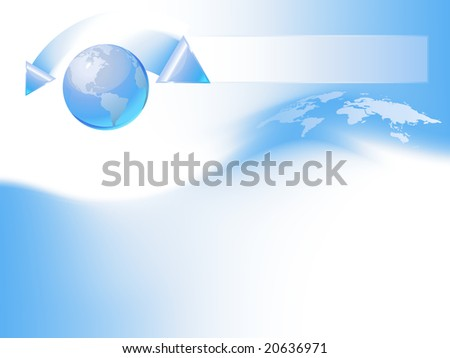Blue globe template, vector background. Items are placed on separate layers and editable.