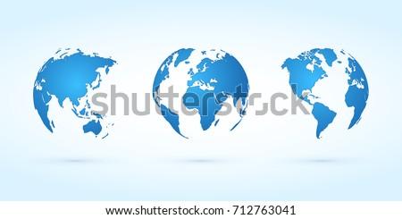 blue globes vector set planet...