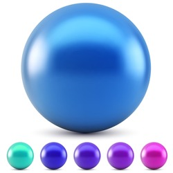 Blue glossy ball vector illustration isolated on white background with cold colors samples.