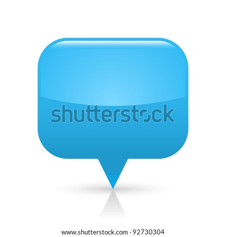 Blue glossy blank map pin icon web button. Rounded rectangle shape with gray shadow and reflection on white background. This vector illustration saved in 8 eps