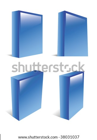 Blue glossy, blank software boxes