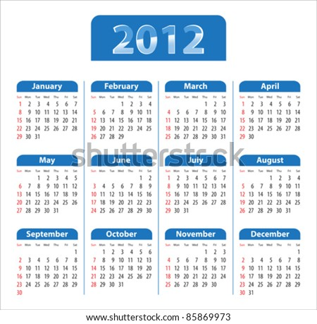 Blue glossy calendar for 2012. Sundays first. Vector illustration